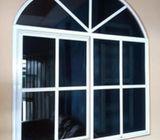 vidrios fijos y puertas embisagradas y corrediza