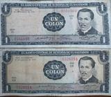 2 Billetes de 1 Colón, de 1971